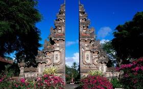 Обои памятник, деревья, архитектура, природа, небо, азия, цветы