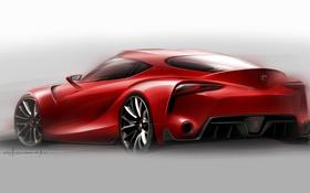 Обои тойота, Toyota, рисунок, эскиз, FT-1