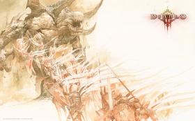 Обои свет, тьма, демон, сражение, воины, Diablo III, Blizzard Entertainment