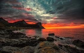 Картинка камни, скалы, небо, облака, зарево, море