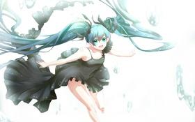 Картинка девушка, капли, радость, аниме, арт, vocaloid, hatsune miku