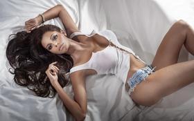 Картинка boobs, sexy, brunette, hot, pose, shirt