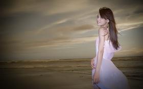 Картинка море, девушка, азиатка
