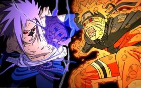 Обои друзья, бой, чакра, сражение, uzumaki naruto, чидори, sasuke uchiha