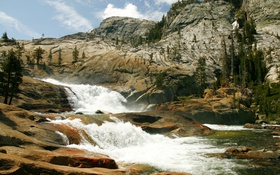 Картинка США, камни, течение, скалы, поток, Йосемити, речка