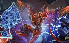 Обои атака, робот, шлем, броня, hon, киборг, Predator