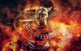Картинка оружие, огонь, арт, цепь, кинжал, fire, Prince of Persia: The Two Thrones