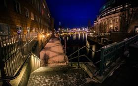 Обои Stockholm, Швеция, ночь
