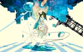 Картинка девушка, провода, зонт, аниме, наушники, арт, vocaloid