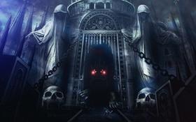 Обои глаза, замок, монстр, boss, Dark Souls 2