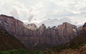 Картинка Соединенные Штаты, Национальный парк Зайон, горы, солнце, Юта, облака