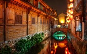 Картинка ночь, дома, фонари, Китай, канал, Лицзян, южный