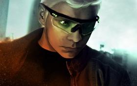 Обои взгляд, лицо, арт, очки, белые волосы, alexiuss