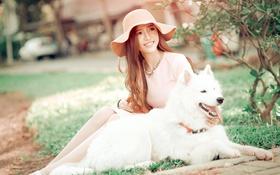 Обои девушка, парк, собака