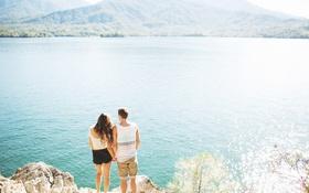 Картинка девушка, озеро, парень, Jim