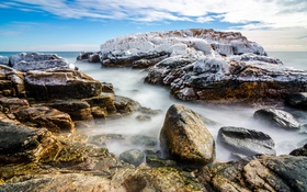 Обои лед, море, небо, облака, камни, скалы