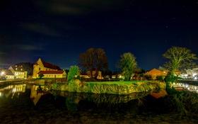 Обои канал, дома, река, огни, ночь, пейзаж, деревья