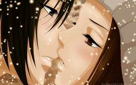 Картинка девушка, снег, шапка, аниме, арт, парень, двое