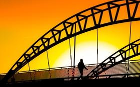 Картинка небо, закат, мост, силуэт