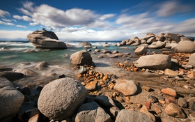 Обои камни, Bonsai Rock, пейзаж, озеро, lake Tahoe