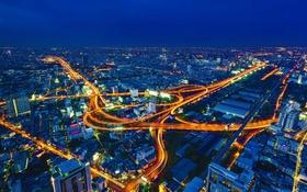 Обои Бангкок, ночь, панорама, Таиланд, огни