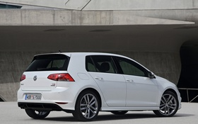 Картинка car, Volkswagen, white, Golf, 5-door, R-Line