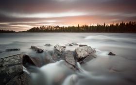 Картинка закат, природа, река, камни
