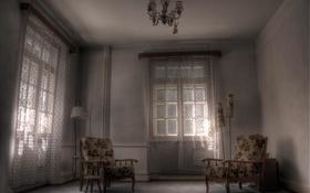 Обои окно, кресло, комната