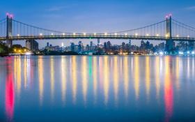 Картинка небо, вода, огни, дома, Нью-Йорк, США, мост Трайборо