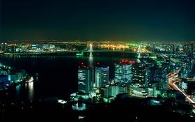 Обои город, ночь, мост, огни