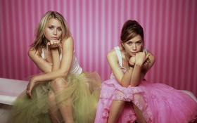 Картинка модели, сёстры, близнецы, платья, актрисы, mary-kate olsen, ashley olsen