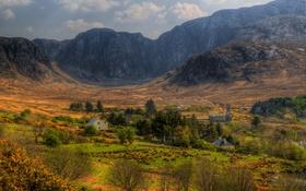 Картинка горы, поля, долина, hdr, Ирландия, Ireland, Donegal