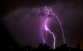 Картинка ночь, природа, город, стихия, молния