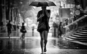 Картинка дождь, Девушка, зонт