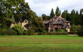 Картинка поле, деревья, Франция, дома, кусты, Le Domaine de Marie Antoinette