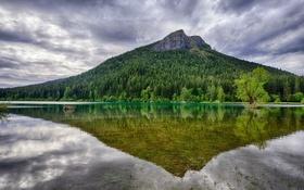 Картинка Washington, гора, отражение, озеро, тучи, деревья, вода