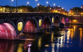 Обои мост, Франция, Toulouse, огни, ночь, фонари, набережная