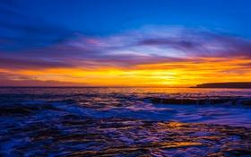 Обои море, горизонт, пейзаж, закат