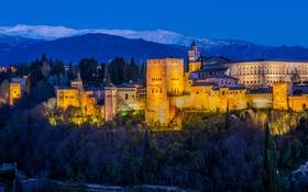Обои деревья, горы, ночь, огни, башня, крепость, Испания