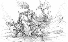 Обои скалы, графика, борода, топор, Warhammer, гном, берсерк