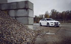 Обои галька, BMW, БМВ, white, диски, вид сбоку, f10
