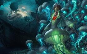 Обои море, девушка, корабли, арт, медузы, под водой, League of Legends