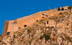 Картинка небо, скала, стена, Греция, крепость
