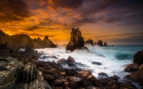 Обои закат, скалы, море