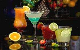 Картинка бокалы, фрукты, коктейли
