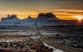 Обои пейзаж, горы, утро, Utah, Monument Valley