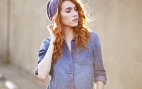 Обои пирсинг, шапка, девушка, рыжая