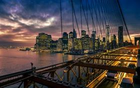 Обои Манхэттен, Нью-Йорк, город, Бруклинский мост