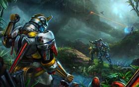 Обои фантастика, бой, джунгли, арт, броня, воины, warside