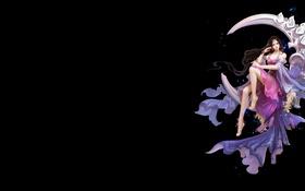 Картинка девушка, месяц, арт, фЭнтези